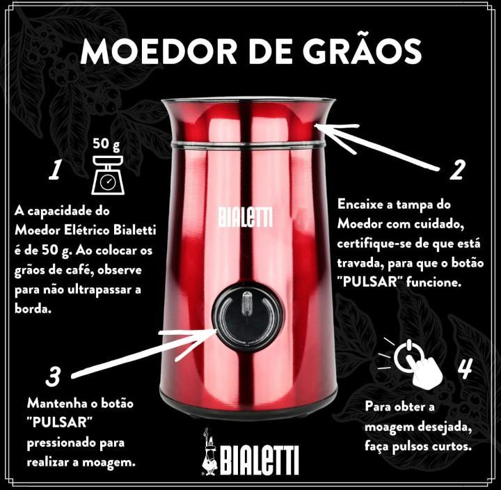 Moedor Café Elétrico Bialetti Eletricity Vermelho 150w