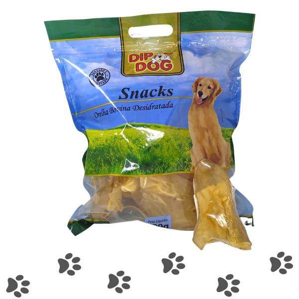 Mordedor Orelha Bovina Natural Para Cachorros 500g Dip Dog