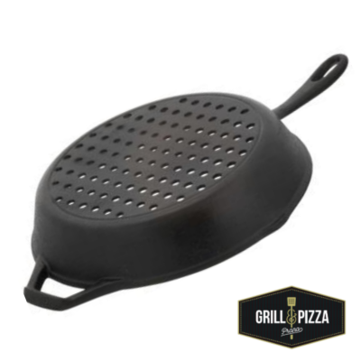 Panela frigideira perfurada ferro fundido para grelhar churrasqueira Prana