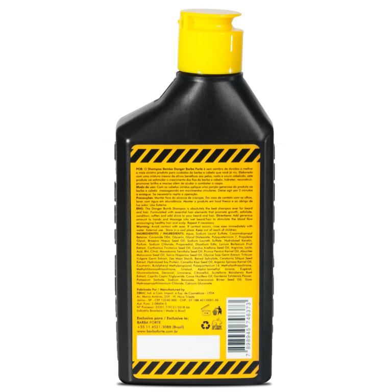 Shampoo Barba Forte Bomba Danger 250ml Cabelo E Barba Kit 12 unidades