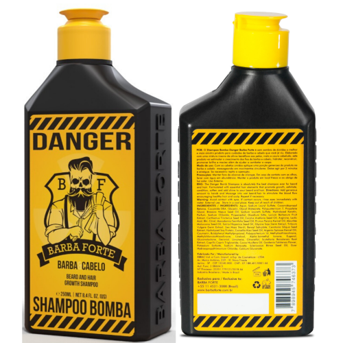 Shampoo Barba Forte Bomba Danger 250ml Cabelo E Barba Kit 6 unidades