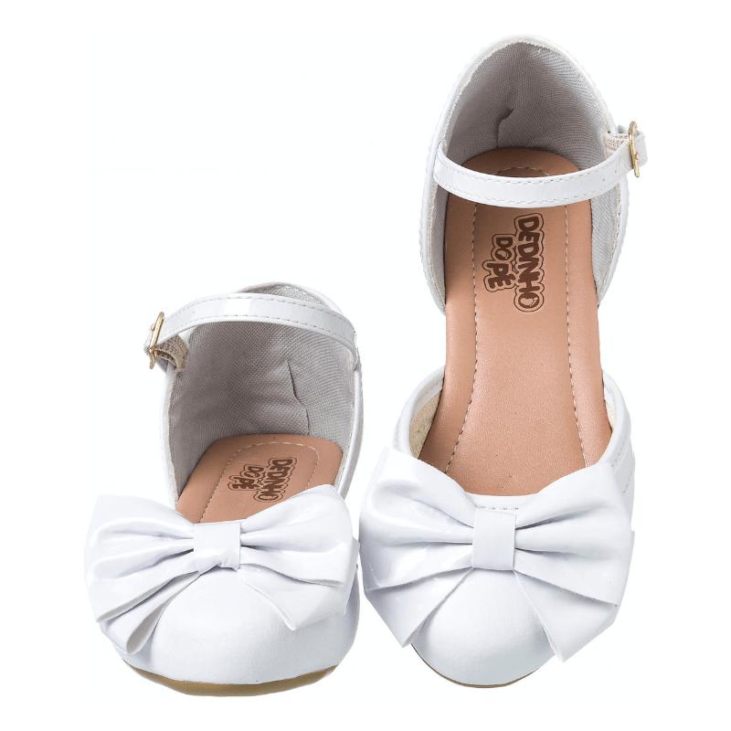 Sapatilha Feminina Infantil Sandália Branca Com Salto  79501