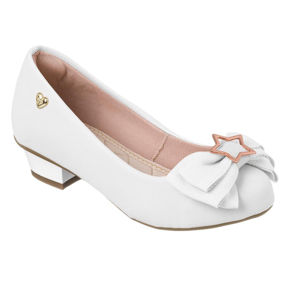 45892410929 Sapatilha Infantil Sapato Branca Feminina Salto Festa 796-01