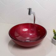 Cuba Vidro Vermelha Redonda 30cm + Válvula Inteligente Click