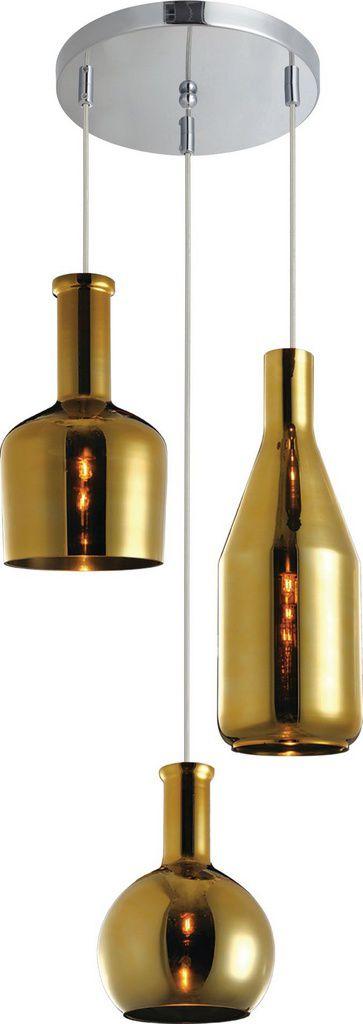 Pendente De Teto Vintage De Aço - Flaschen Dourado