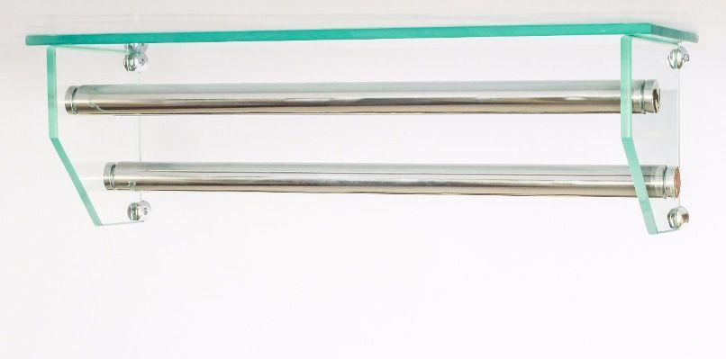 Porta Toalha Duplo de Vidro Com Compartimento para Acessórios