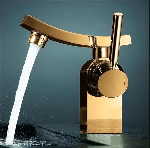 Torneira de Banheiro/Lavabo Monocomando Misturador Modena Dourada