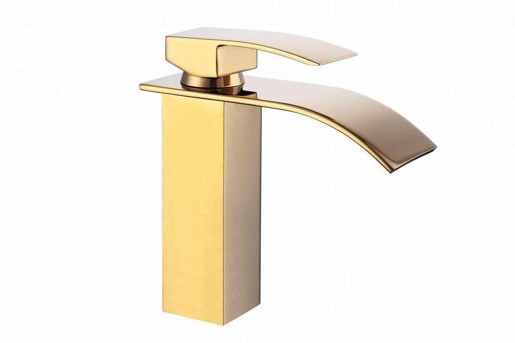 Torneira Gold Lavabo Banheiro Monocomando Dourada  Burano