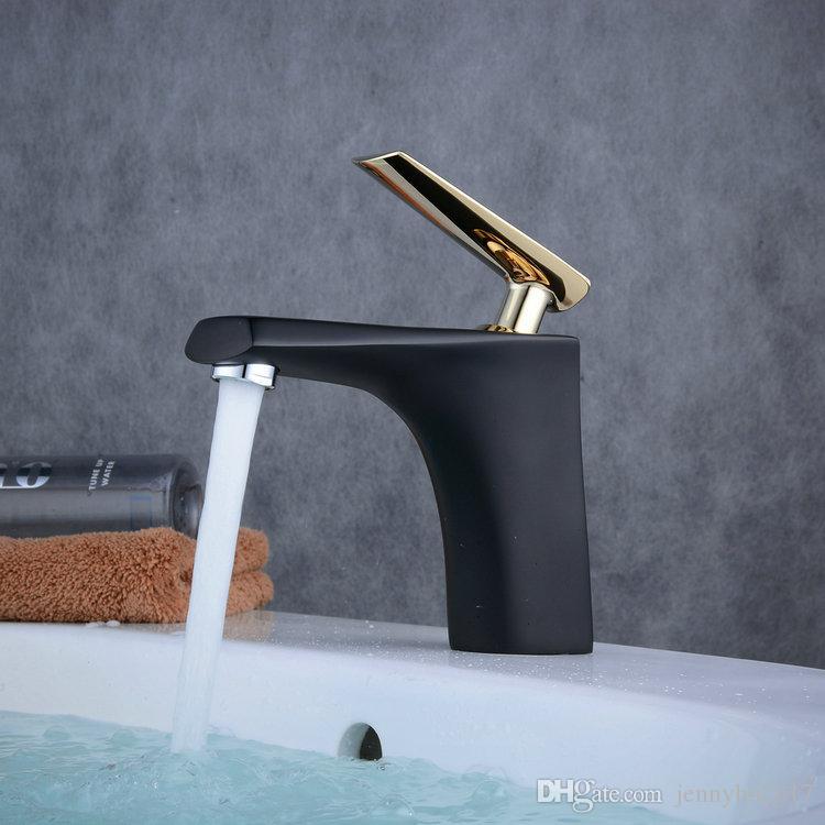 Torneira Lavabo Monocomando Luxemburgo Preta e Dourada