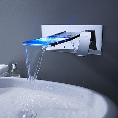 Torneira Parede Led Banheiro Lavabo Monocomando Milão