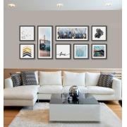 Composição de Quadros Decorativos com Gravuras Abstratas kit 8 pçs