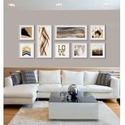 Composição de Quadros Decorativos  - Kit Abstrato 8 pçs