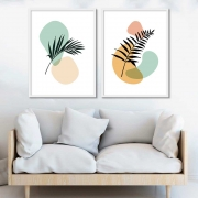 Conjunto com 02 Quadros Decorativos Abstrato Arte Doodle Colorido Folhas
