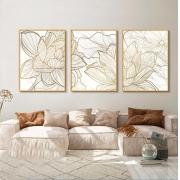 Conjunto com 03 Quadros Decorativos Flor Dourada Fundo Marmorizado