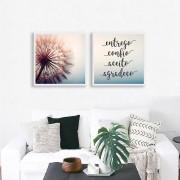 Conjunto de 02 Quadros Decorativos Flor e Frase