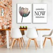 Conjunto de Quadros Decorativos Flor Minimalista