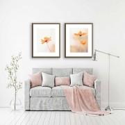 Conjunto de Quadros Decorativos Flores Laranjas