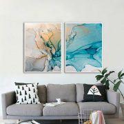 Kit Com 02 Quadros Abstratos Azul e Laranja