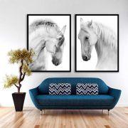 Kit Com 02 Quadros Decorativos Cavalos P&B