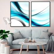Kit com 02 Quadros Decorativos Ondas Abstratas Azul