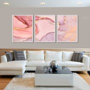 Kit com 03 Quadros Abstrato Pink