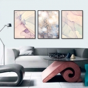 Kit com 03 Quadros Decorativos Abstrato e Flor