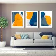 Kit com 03 Quadros Decorativos Arte Abstrata Doodle Color