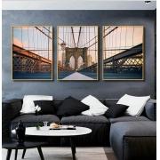 Kit com 03 Quadros Decorativos Ponte do Brooklyn Horizontal
