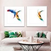 Kit de Quadros Decorativos Abstrato Formas Coloridas