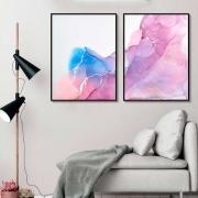 Kit de Quadros Decorativos Abstrato Marmorizado Rosê
