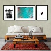 Kit de Quadros Decorativos Barcos e Abstrato 03 pçs