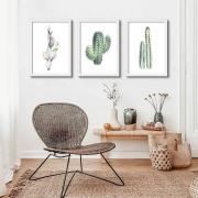 Kit de Quadros Decorativos Desenho Artístico Cactus