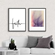 Kit de Quadros Decorativos Faith e Flor
