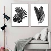 Kit de Quadros Decorativos Folhas Preto e Branco