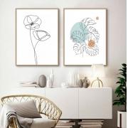 Kit de Quadros Decorativos Minimalistas Fine Line - Flores e Folhagens