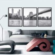 Kit de Quadros Decorativos Ny Brooklyn Bridge
