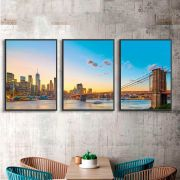 Kit de Quadros Decorativos Ponte do Brooklyn Céu Azul