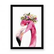 Quadro decoratigo Flamingo Aquarela
