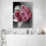Quadro Decorativo Abstrato Rosto Feminino com Flor