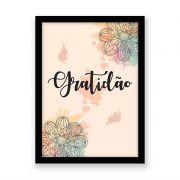Quadro decorativo Com Palavra Gratidão Colorido