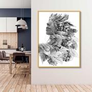 Quadro Decorativo Rosto Artístico Preto e Branco