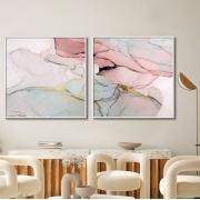 Quadros Decorativos Abstrato Marmorizado Rosê
