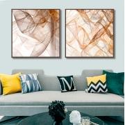 Quadros Decorativos em Tecido Canvas - Abstrato Linhas Douradas
