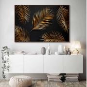 Quadros Decorativos em Tecido Canvas - Folhagens em Dourado