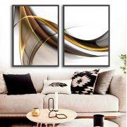 Quadros Decorativos Para Sala Linhas Preto e Dourado