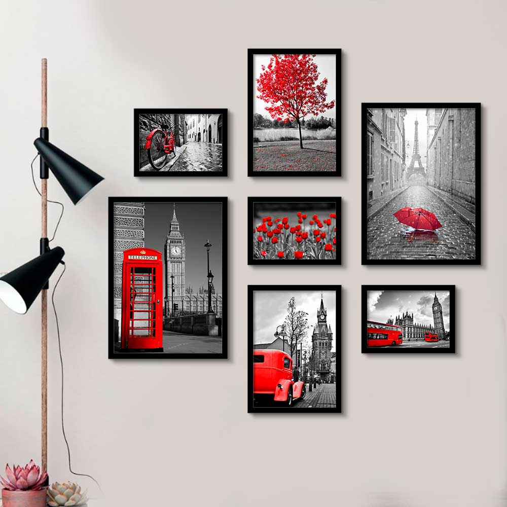 Composição de Quadros Decorativos Cidades e Paisagens