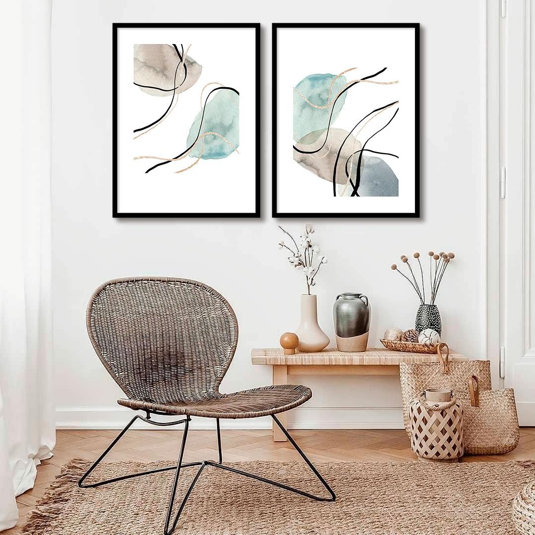 Conjunto com 02 Quadros Decorativos Arte Doodle Abstrato