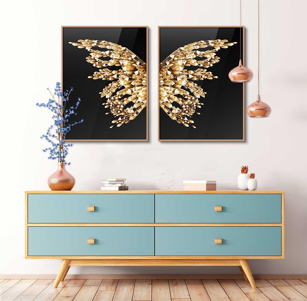 Conjunto com 02 Quadros Decorativos Asas Dourada de Borboleta