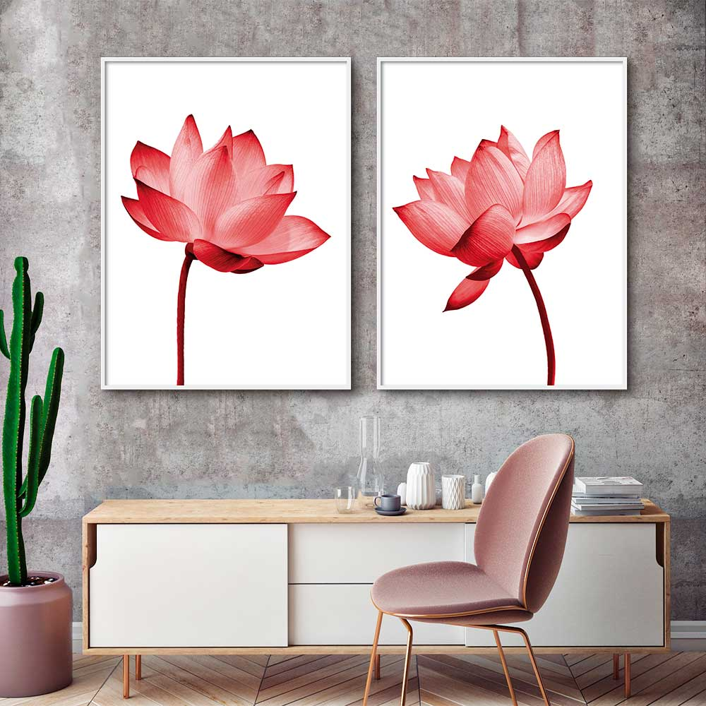 Conjunto com 02 Quadros Decorativos Flores de Lotus Vermelhas