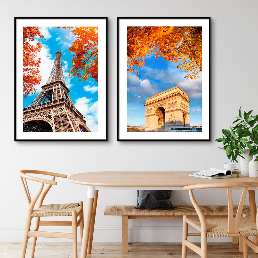 Conjunto com 02 Quadros Decorativos Torre Eiffel e Arco do Triunfo